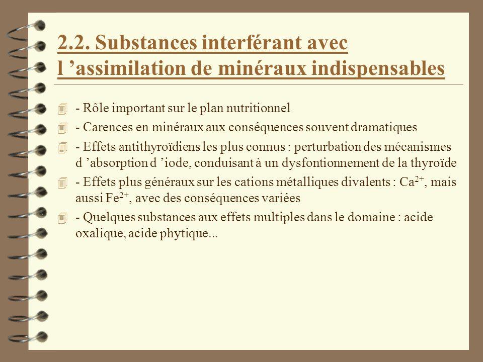 2.2. Substances interférant avec l assimilation de minéraux indispensables 4 - Rôle important sur le plan nutritionnel 4 - Carences en minéraux aux co