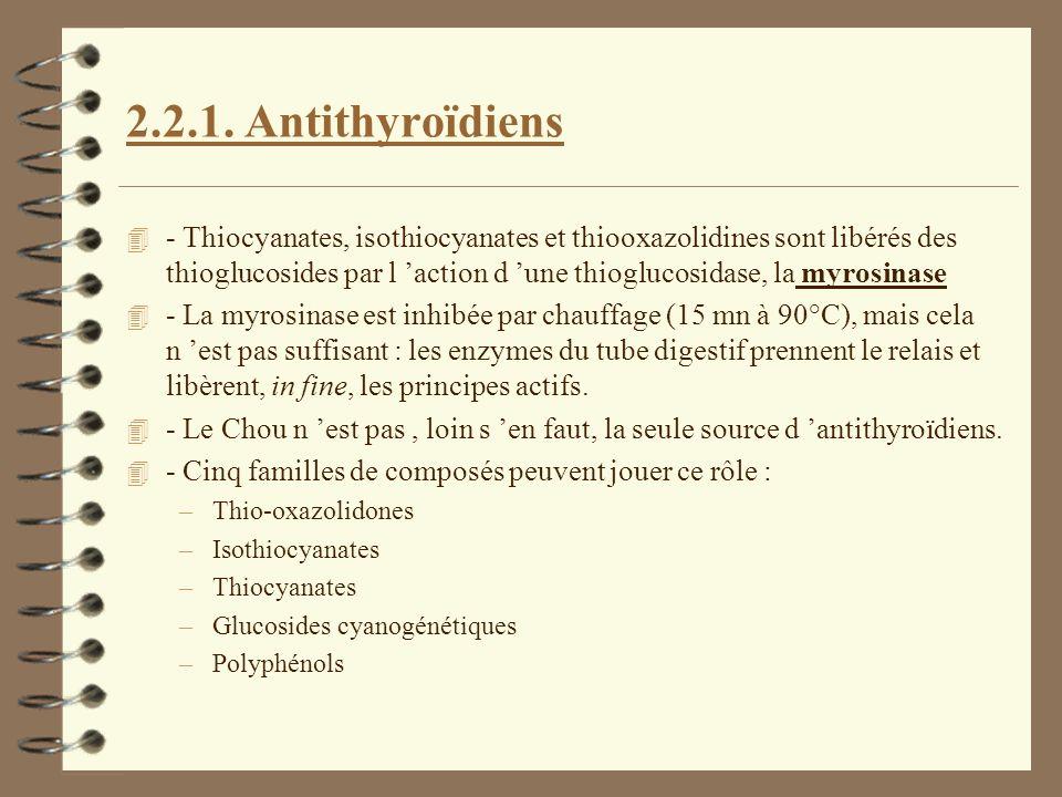 2.2.1. Antithyroïdiens 4 - Thiocyanates, isothiocyanates et thiooxazolidines sont libérés des thioglucosides par l action d une thioglucosidase, la my