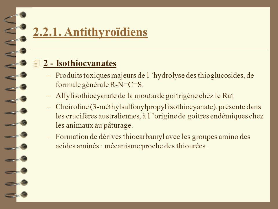 2.2.1. Antithyroïdiens 4 2 - Isothiocyanates –Produits toxiques majeurs de l hydrolyse des thioglucosides, de formule générale R-N=C=S. –Allylisothioc