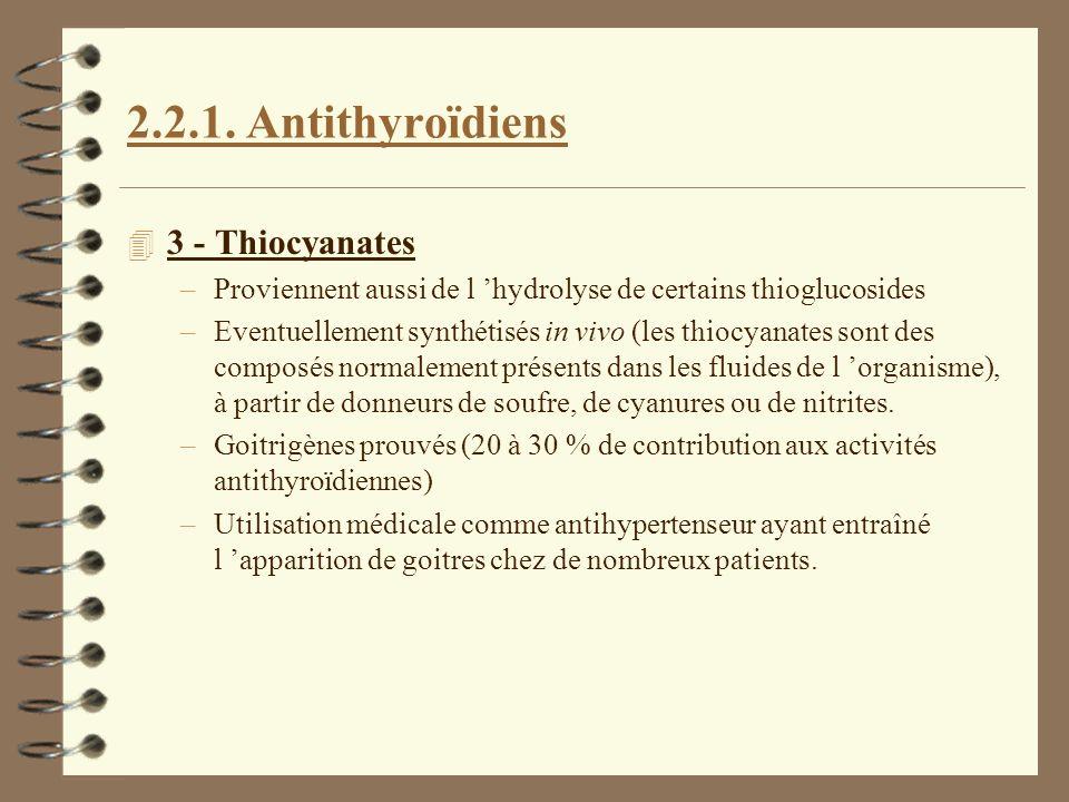 2.2.1. Antithyroïdiens 4 3 - Thiocyanates –Proviennent aussi de l hydrolyse de certains thioglucosides –Eventuellement synthétisés in vivo (les thiocy
