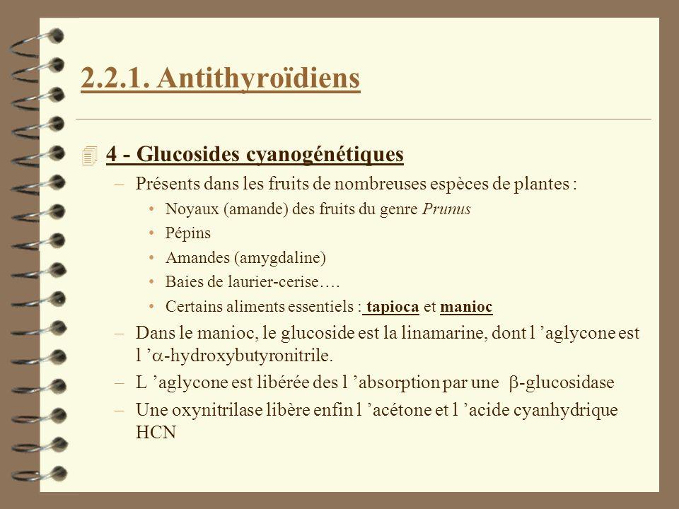 2.2.1. Antithyroïdiens 4 4 - Glucosides cyanogénétiques –Présents dans les fruits de nombreuses espèces de plantes : Noyaux (amande) des fruits du gen