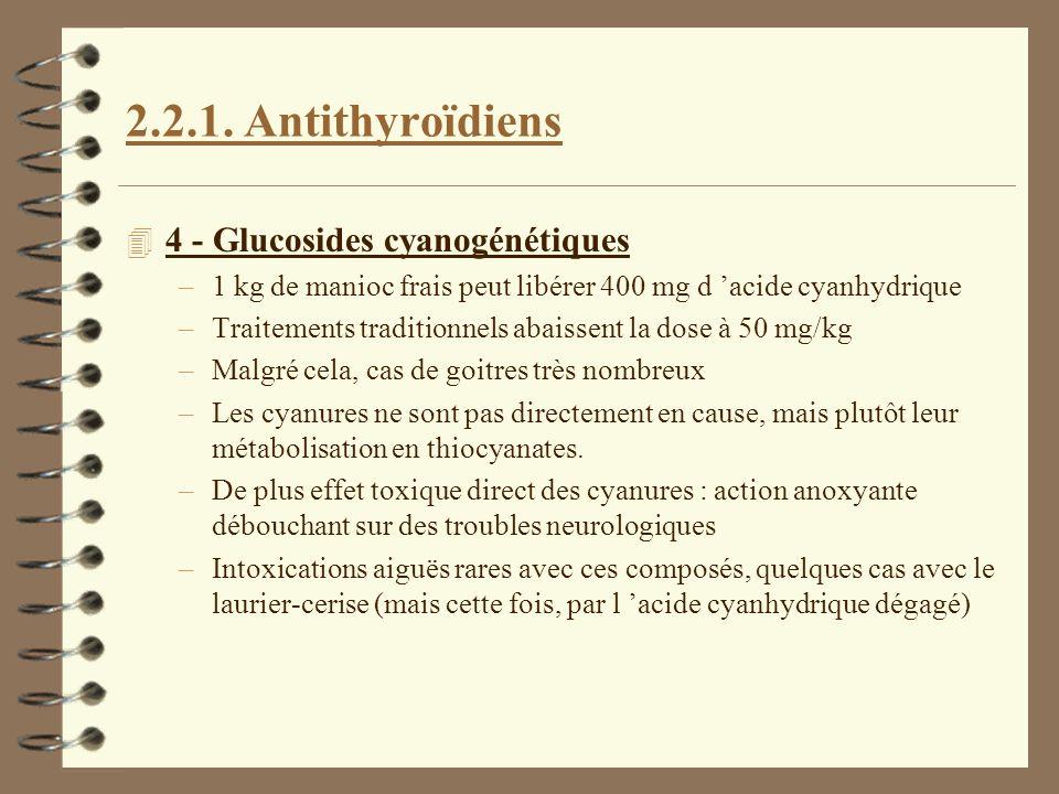 2.2.1. Antithyroïdiens 4 4 - Glucosides cyanogénétiques –1 kg de manioc frais peut libérer 400 mg d acide cyanhydrique –Traitements traditionnels abai