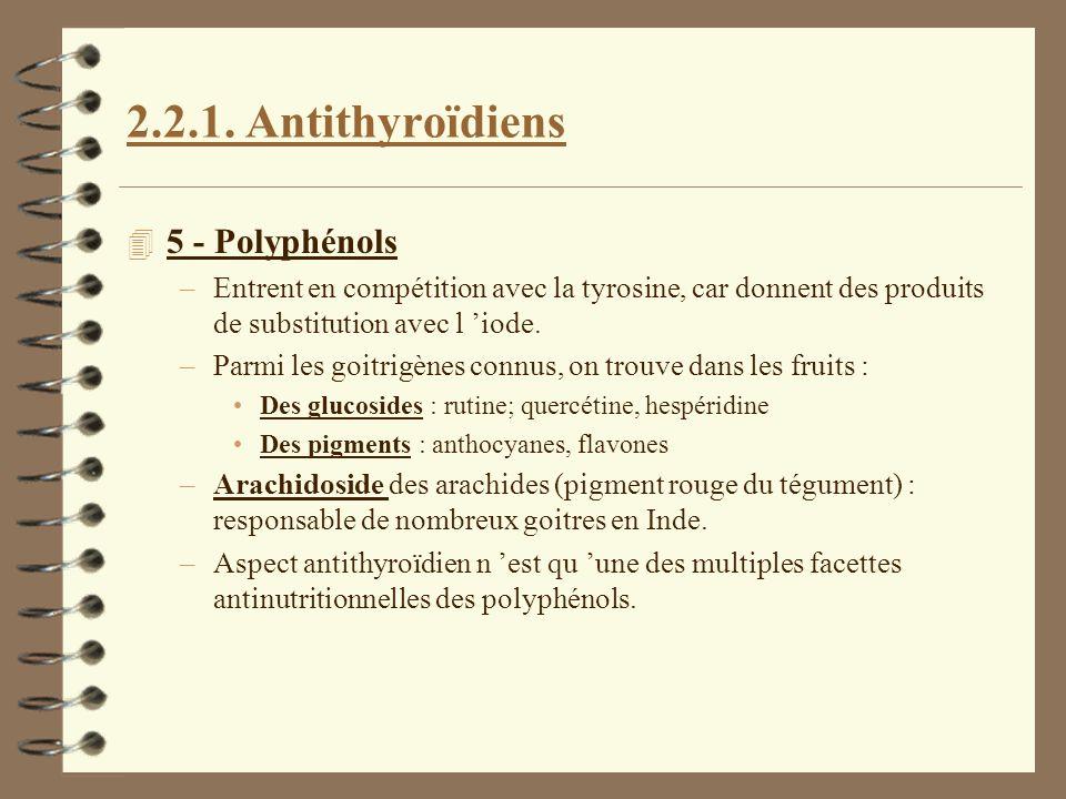 2.2.1. Antithyroïdiens 4 5 - Polyphénols –Entrent en compétition avec la tyrosine, car donnent des produits de substitution avec l iode. –Parmi les go