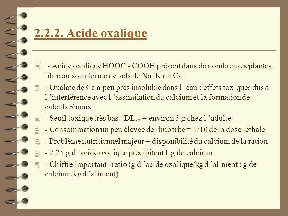 2.2.2. Acide oxalique 4 - Acide oxalique HOOC - COOH présent dans de nombreuses plantes, libre ou sous forme de sels de Na, K ou Ca. 4 - Oxalate de Ca