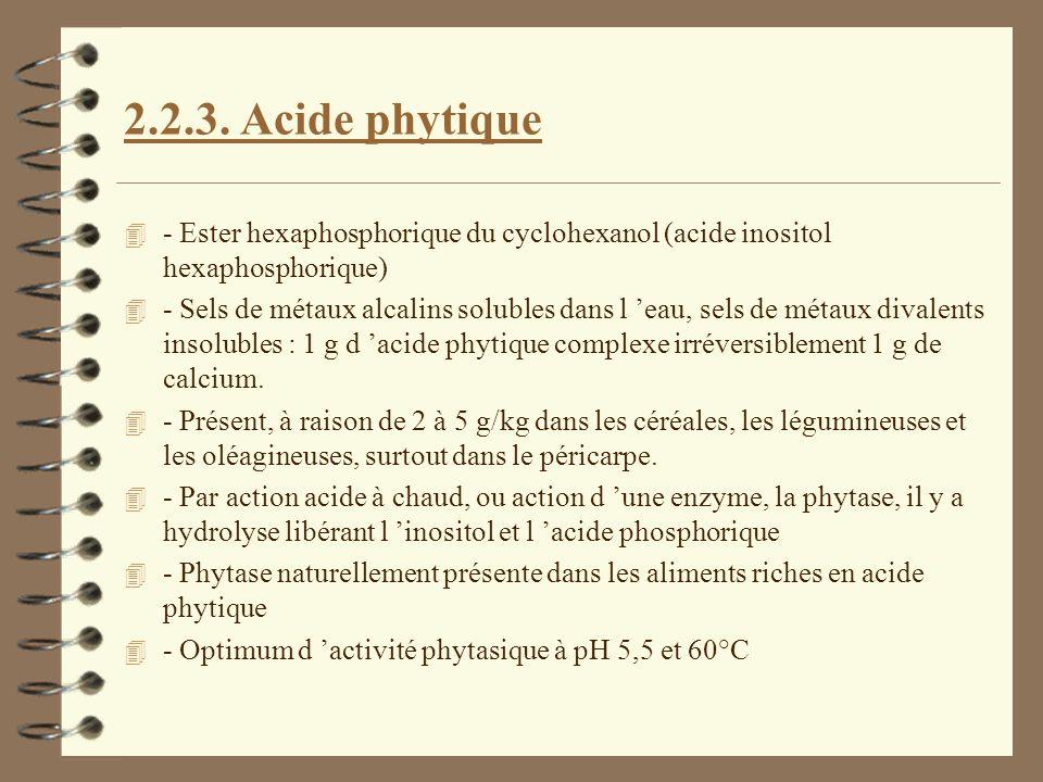 2.2.3. Acide phytique 4 - Ester hexaphosphorique du cyclohexanol (acide inositol hexaphosphorique) 4 - Sels de métaux alcalins solubles dans l eau, se