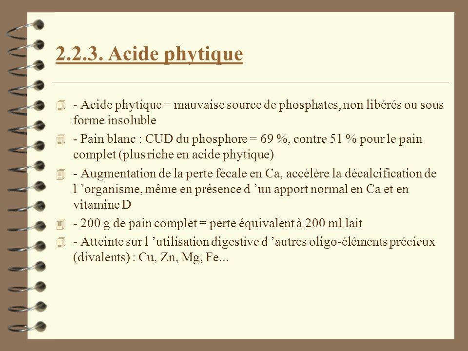 2.2.3. Acide phytique 4 - Acide phytique = mauvaise source de phosphates, non libérés ou sous forme insoluble 4 - Pain blanc : CUD du phosphore = 69 %