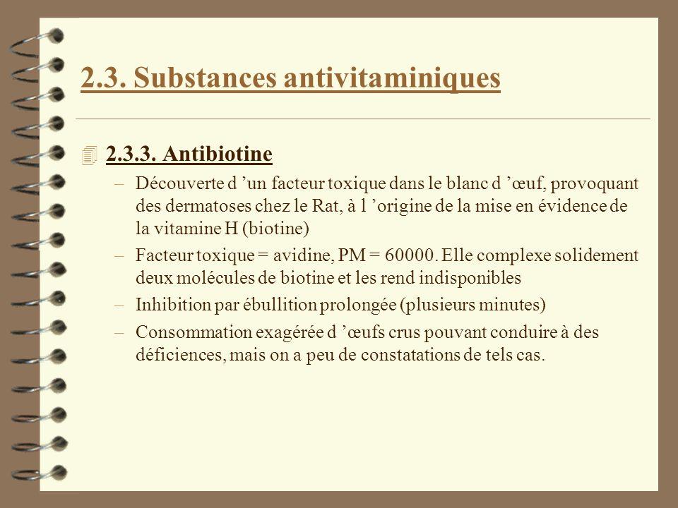 2.3. Substances antivitaminiques 4 2.3.3. Antibiotine –Découverte d un facteur toxique dans le blanc d œuf, provoquant des dermatoses chez le Rat, à l