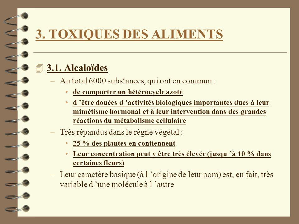 3. TOXIQUES DES ALIMENTS 4 3.1. Alcaloïdes –Au total 6000 substances, qui ont en commun : de comporter un hétérocycle azoté d être douées d activités