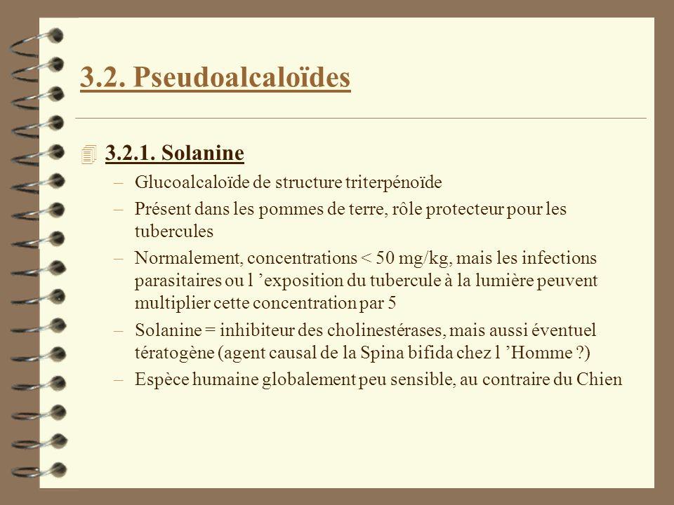 3.2. Pseudoalcaloïdes 4 3.2.1. Solanine –Glucoalcaloïde de structure triterpénoïde –Présent dans les pommes de terre, rôle protecteur pour les tubercu