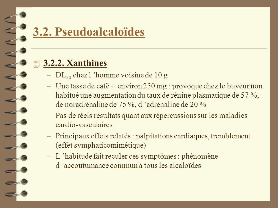 3.2. Pseudoalcaloïdes 4 3.2.2. Xanthines –DL 50 chez l homme voisine de 10 g –Une tasse de café = environ 250 mg : provoque chez le buveur non habitué