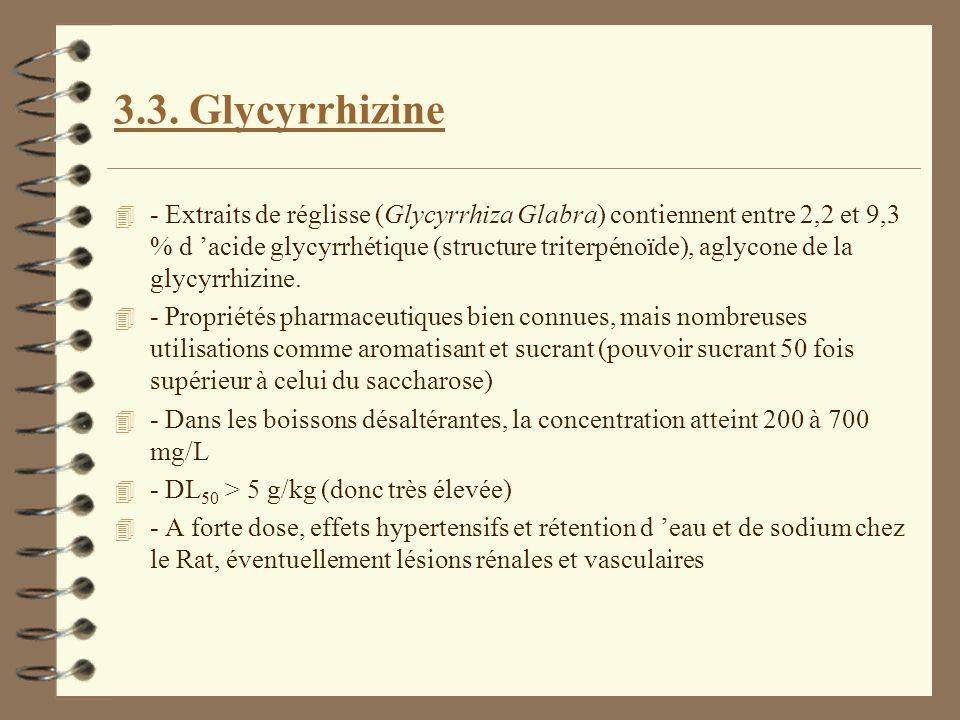 3.3. Glycyrrhizine 4 - Extraits de réglisse (Glycyrrhiza Glabra) contiennent entre 2,2 et 9,3 % d acide glycyrrhétique (structure triterpénoïde), agly
