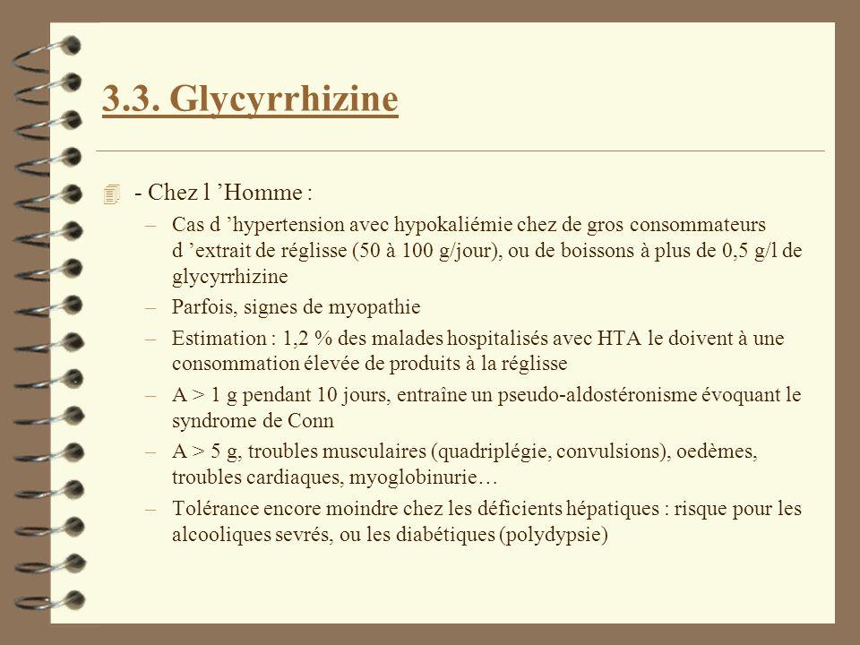 3.3. Glycyrrhizine 4 - Chez l Homme : –Cas d hypertension avec hypokaliémie chez de gros consommateurs d extrait de réglisse (50 à 100 g/jour), ou de