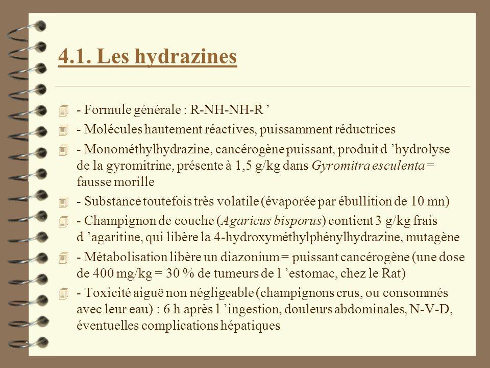 4.1. Les hydrazines 4 - Formule générale : R-NH-NH-R 4 - Molécules hautement réactives, puissamment réductrices 4 - Monométhylhydrazine, cancérogène p