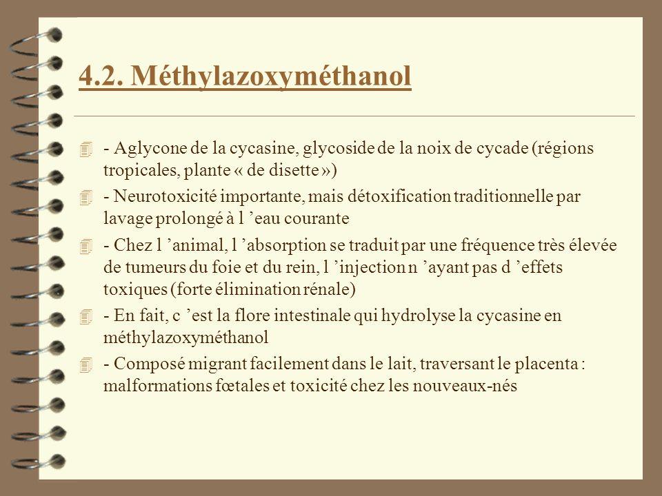 4.2. Méthylazoxyméthanol 4 - Aglycone de la cycasine, glycoside de la noix de cycade (régions tropicales, plante « de disette ») 4 - Neurotoxicité imp