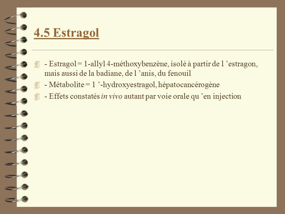 4.5 Estragol 4 - Estragol = 1-allyl 4-méthoxybenzène, isolé à partir de l estragon, mais aussi de la badiane, de l anis, du fenouil 4 - Métabolite = 1