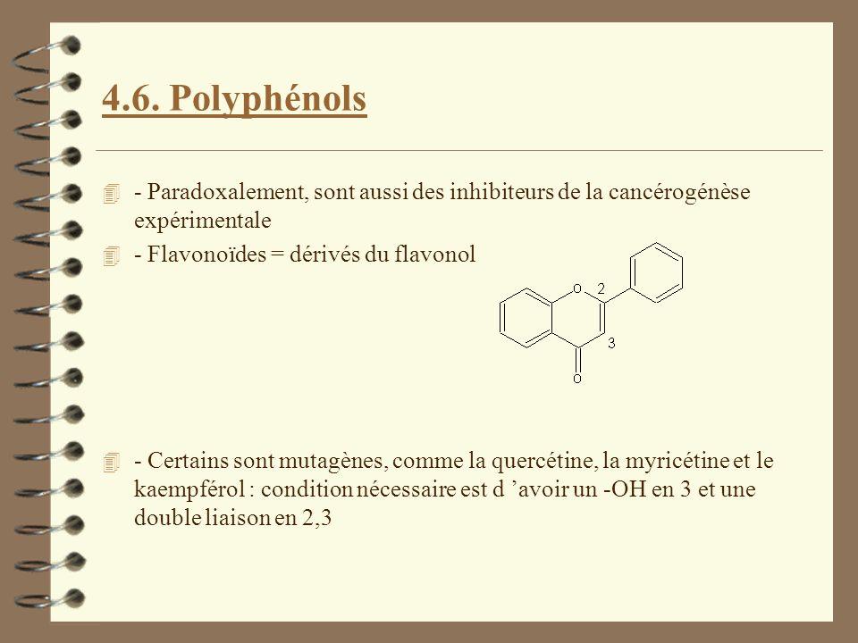4.6. Polyphénols 4 - Paradoxalement, sont aussi des inhibiteurs de la cancérogénèse expérimentale 4 - Flavonoïdes = dérivés du flavonol 4 - Certains s