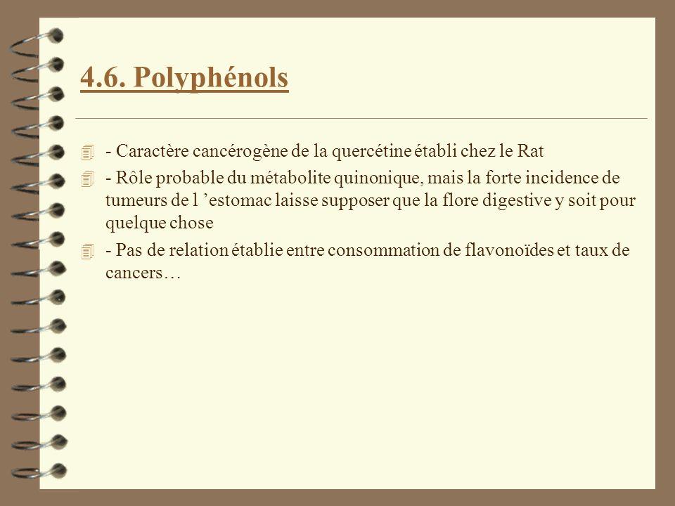 4.6. Polyphénols 4 - Caractère cancérogène de la quercétine établi chez le Rat 4 - Rôle probable du métabolite quinonique, mais la forte incidence de
