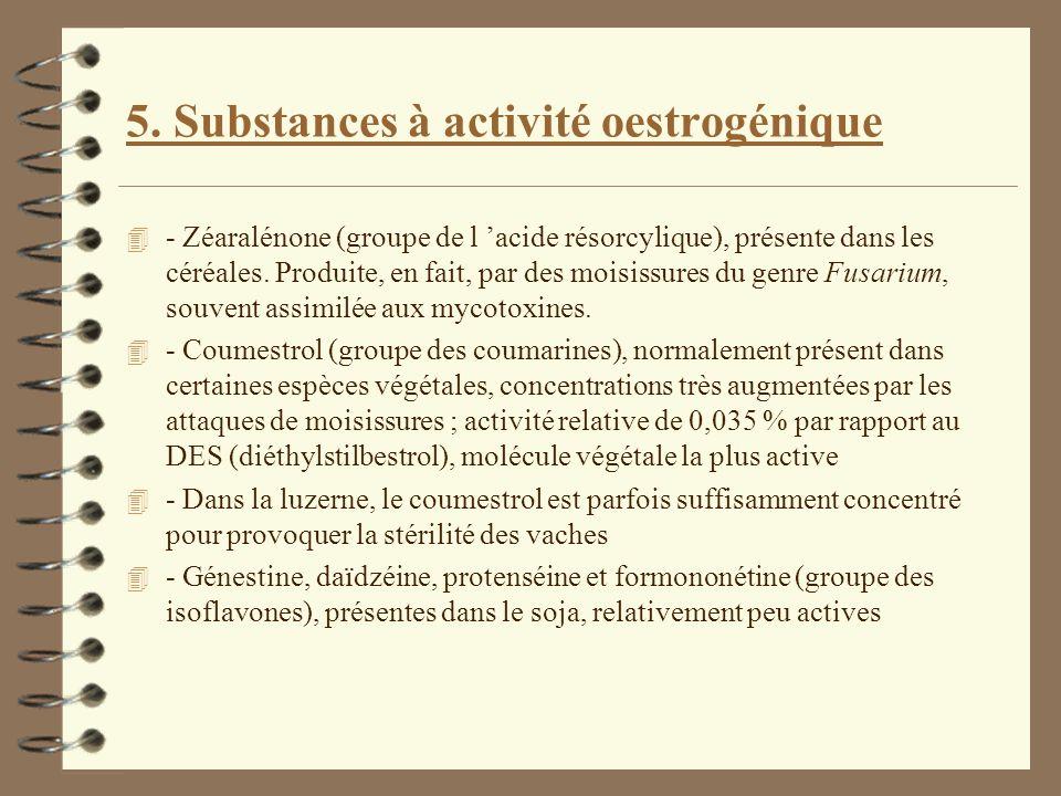 5. Substances à activité oestrogénique 4 - Zéaralénone (groupe de l acide résorcylique), présente dans les céréales. Produite, en fait, par des moisis