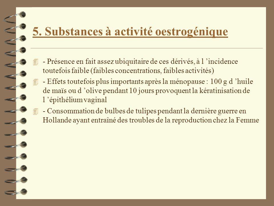 5. Substances à activité oestrogénique 4 - Présence en fait assez ubiquitaire de ces dérivés, à l incidence toutefois faible (faibles concentrations,