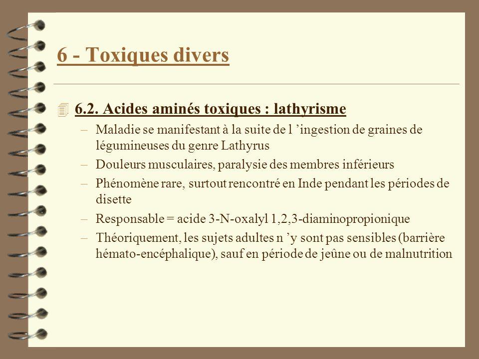 6 - Toxiques divers 4 6.2. Acides aminés toxiques : lathyrisme –Maladie se manifestant à la suite de l ingestion de graines de légumineuses du genre L