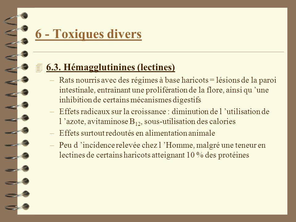 6 - Toxiques divers 4 6.3. Hémagglutinines (lectines) –Rats nourris avec des régimes à base haricots = lésions de la paroi intestinale, entraînant une