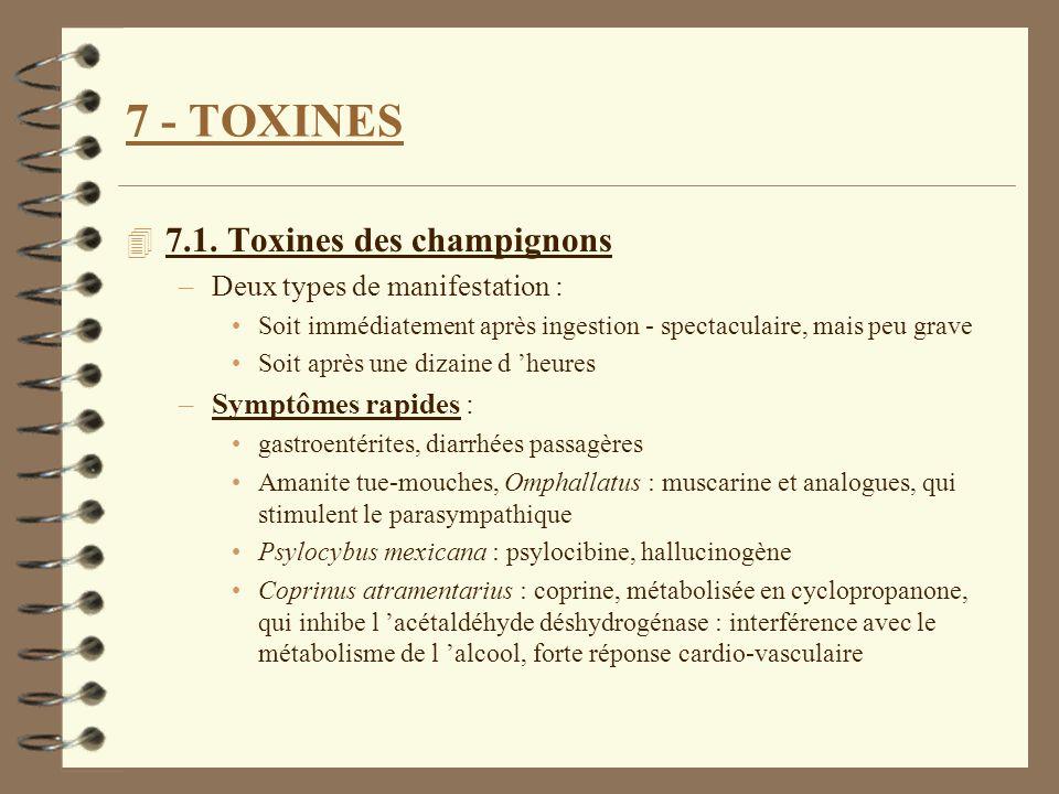 7 - TOXINES 4 7.1. Toxines des champignons –Deux types de manifestation : Soit immédiatement après ingestion - spectaculaire, mais peu grave Soit aprè