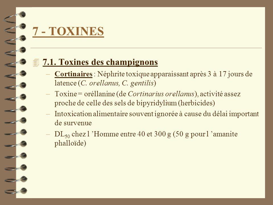 7 - TOXINES 4 7.1. Toxines des champignons –Cortinaires : Néphrite toxique apparaissant après 3 à 17 jours de latence (C. orellanus, C. gentilis) –Tox