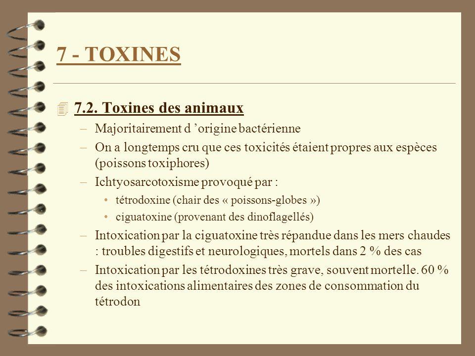 7 - TOXINES 4 7.2. Toxines des animaux –Majoritairement d origine bactérienne –On a longtemps cru que ces toxicités étaient propres aux espèces (poiss