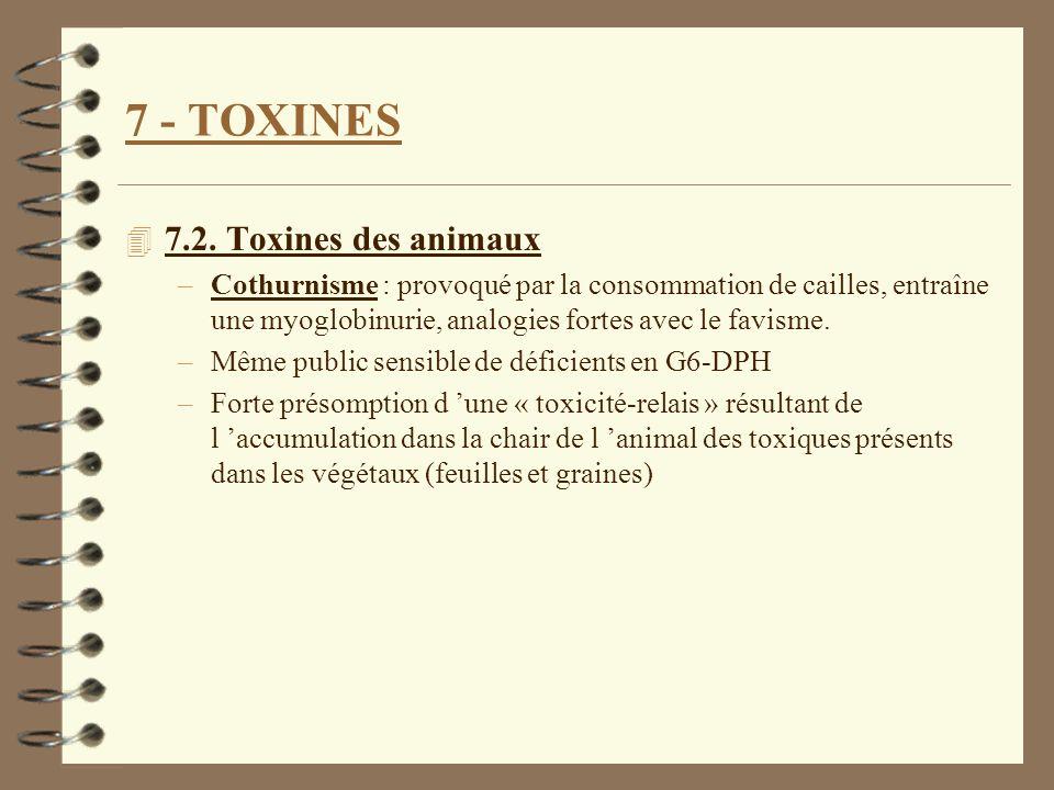 7 - TOXINES 4 7.2. Toxines des animaux –Cothurnisme : provoqué par la consommation de cailles, entraîne une myoglobinurie, analogies fortes avec le fa
