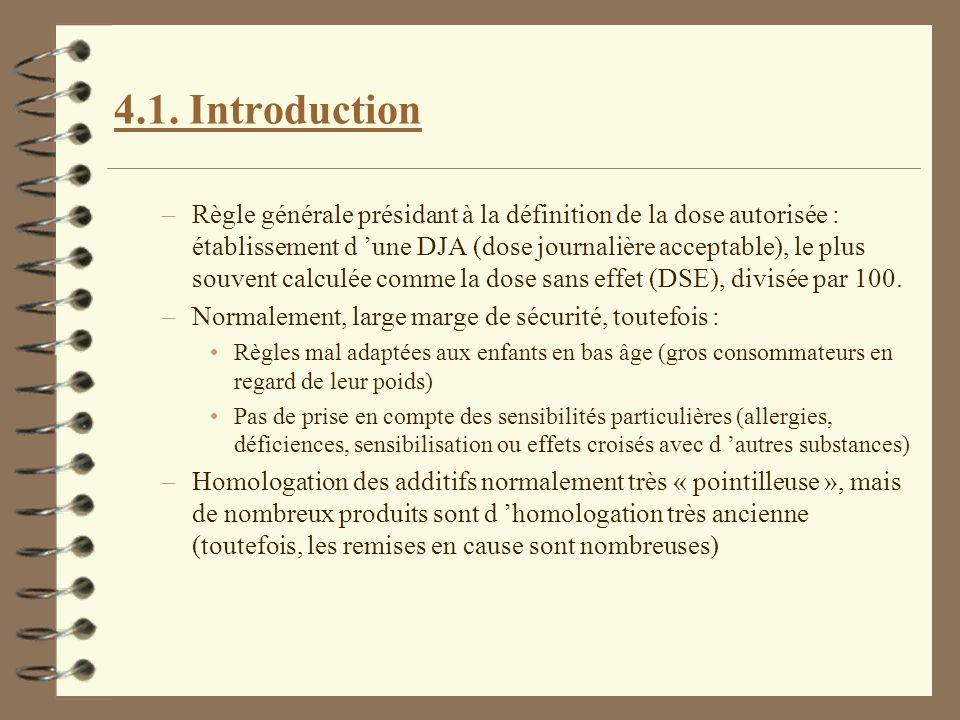 4.1. Introduction –Règle générale présidant à la définition de la dose autorisée : établissement d une DJA (dose journalière acceptable), le plus souv