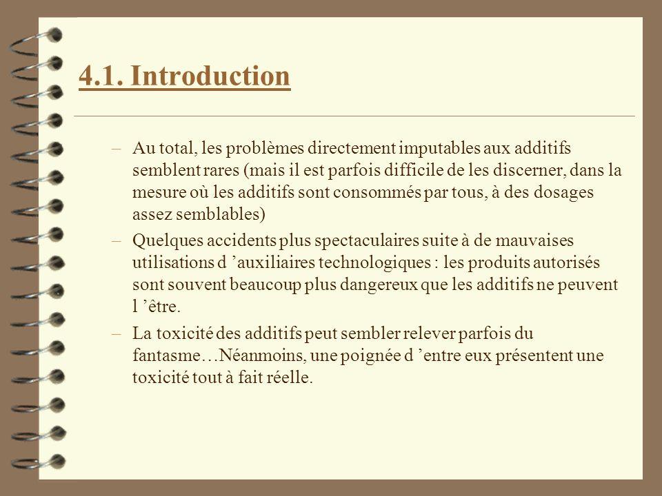 4.1. Introduction –Au total, les problèmes directement imputables aux additifs semblent rares (mais il est parfois difficile de les discerner, dans la