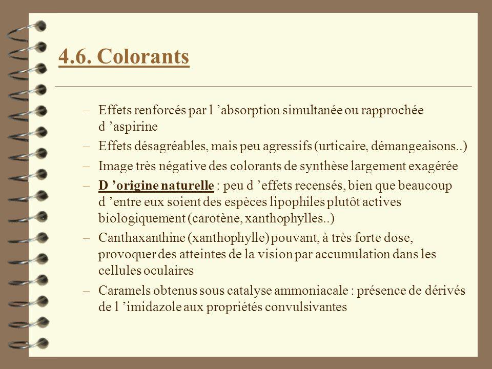 4.6. Colorants –Effets renforcés par l absorption simultanée ou rapprochée d aspirine –Effets désagréables, mais peu agressifs (urticaire, démangeaiso