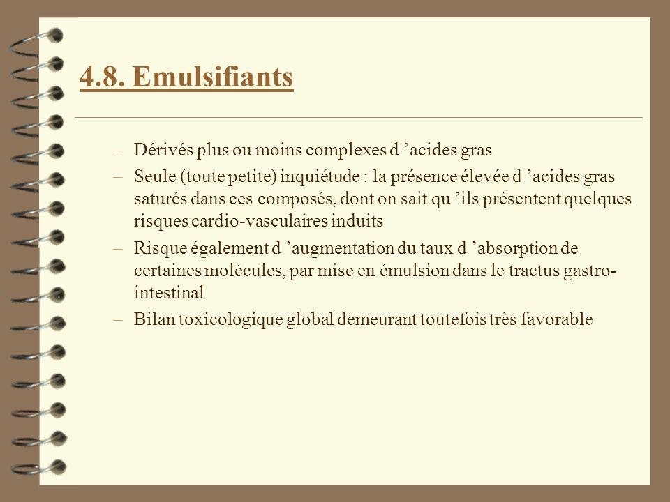 4.8. Emulsifiants –Dérivés plus ou moins complexes d acides gras –Seule (toute petite) inquiétude : la présence élevée d acides gras saturés dans ces