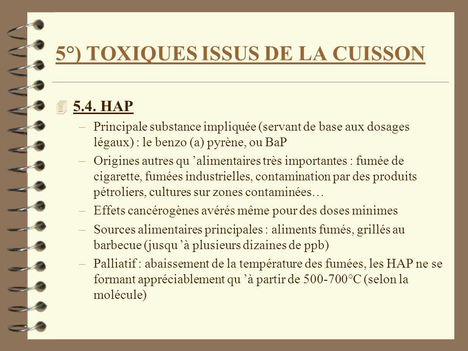 5°) TOXIQUES ISSUS DE LA CUISSON 4 5.4. HAP –Principale substance impliquée (servant de base aux dosages légaux) : le benzo (a) pyrène, ou BaP –Origin