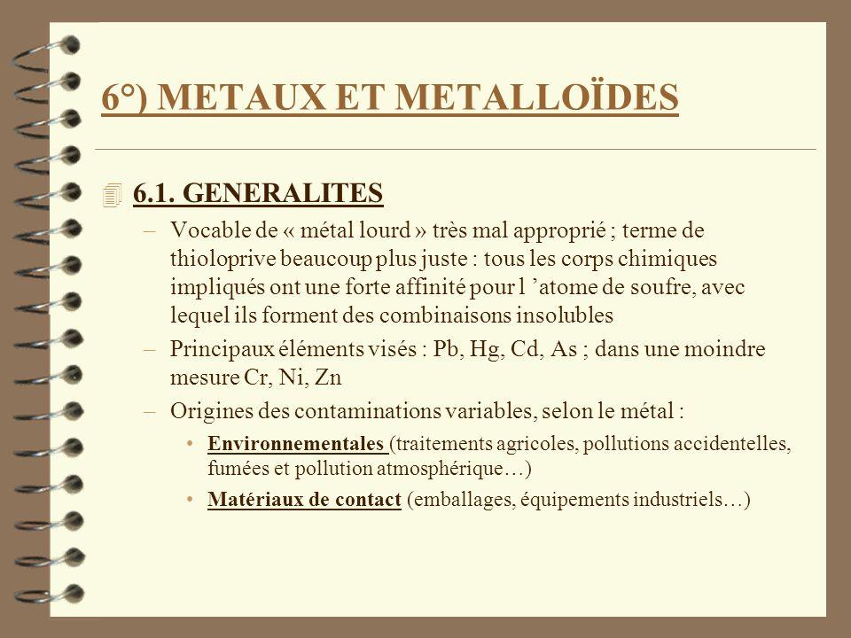 6°) METAUX ET METALLOÏDES 4 6.1. GENERALITES –Vocable de « métal lourd » très mal approprié ; terme de thioloprive beaucoup plus juste : tous les corp