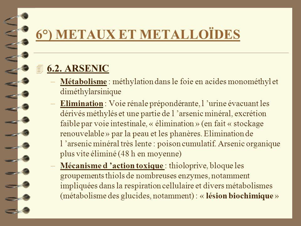 6°) METAUX ET METALLOÏDES 4 6.2. ARSENIC –Métabolisme : méthylation dans le foie en acides monométhyl et diméthylarsinique –Elimination : Voie rénale