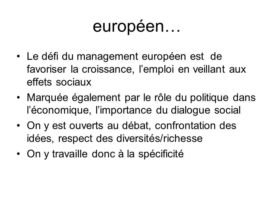 européen… Le défi du management européen est de favoriser la croissance, lemploi en veillant aux effets sociaux Marquée également par le rôle du polit