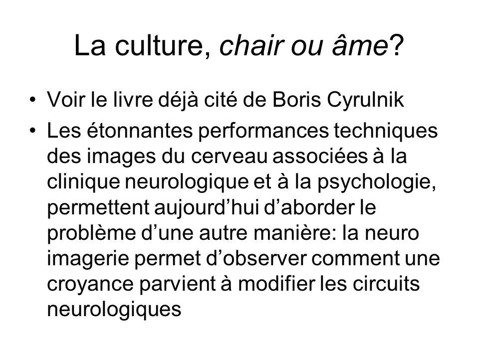 La culture, chair ou âme? Voir le livre déjà cité de Boris Cyrulnik Les étonnantes performances techniques des images du cerveau associées à la cliniq