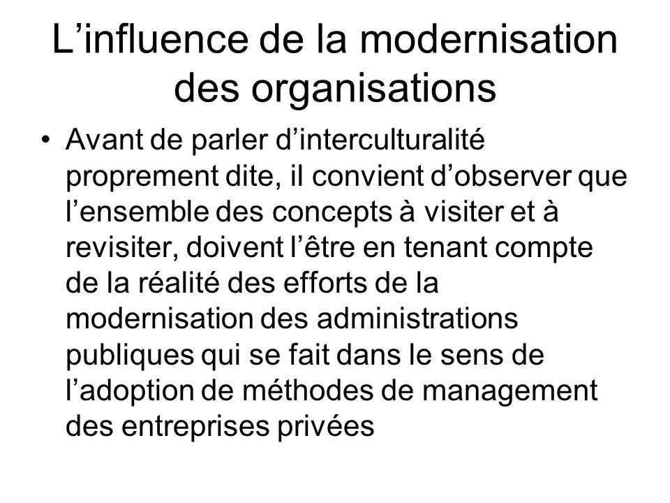 Linfluence de la modernisation des organisations Avant de parler dinterculturalité proprement dite, il convient dobserver que lensemble des concepts à