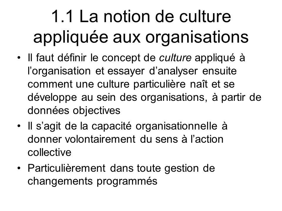 1.1 La notion de culture appliquée aux organisations Il faut définir le concept de culture appliqué à lorganisation et essayer danalyser ensuite comme