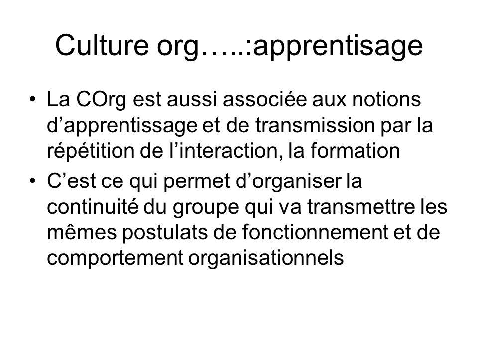 Culture org…..:apprentisage La COrg est aussi associée aux notions dapprentissage et de transmission par la répétition de linteraction, la formation C