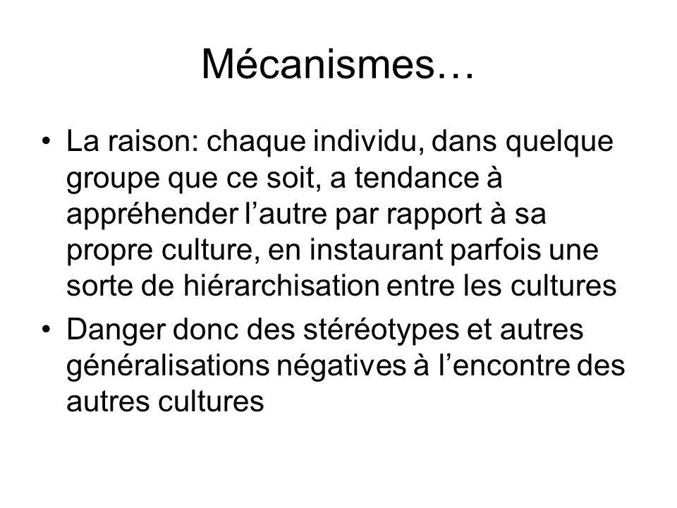 Mécanismes… La raison: chaque individu, dans quelque groupe que ce soit, a tendance à appréhender lautre par rapport à sa propre culture, en instauran