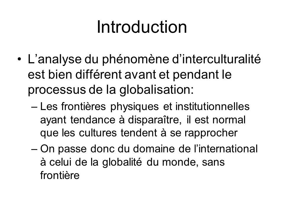 Introduction Lanalyse du phénomène dinterculturalité est bien différent avant et pendant le processus de la globalisation: –Les frontières physiques e