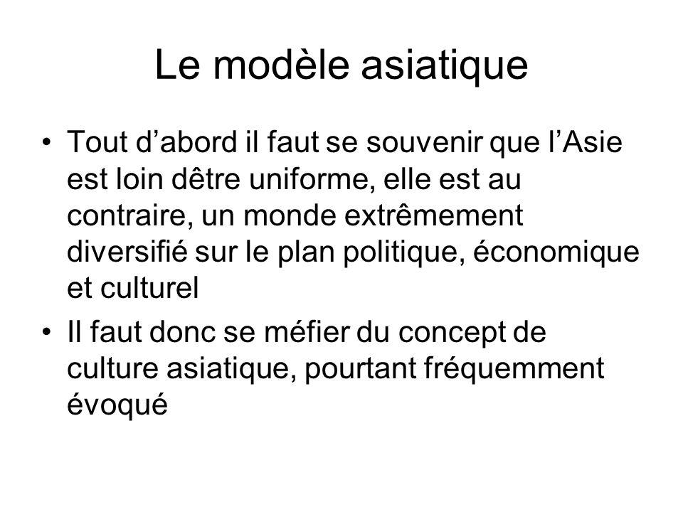 Le modèle asiatique Tout dabord il faut se souvenir que lAsie est loin dêtre uniforme, elle est au contraire, un monde extrêmement diversifié sur le p