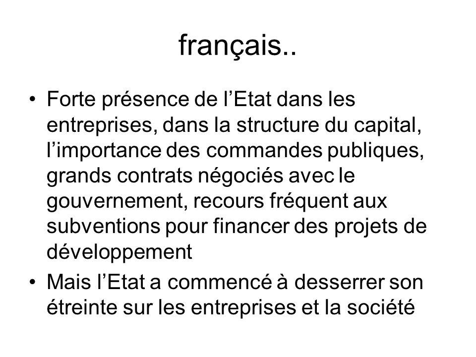 français.. Forte présence de lEtat dans les entreprises, dans la structure du capital, limportance des commandes publiques, grands contrats négociés a