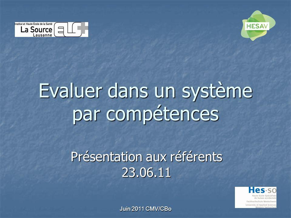 Juin 2011 CMV/CBo Evaluer dans un système par compétences Présentation aux référents 23.06.11