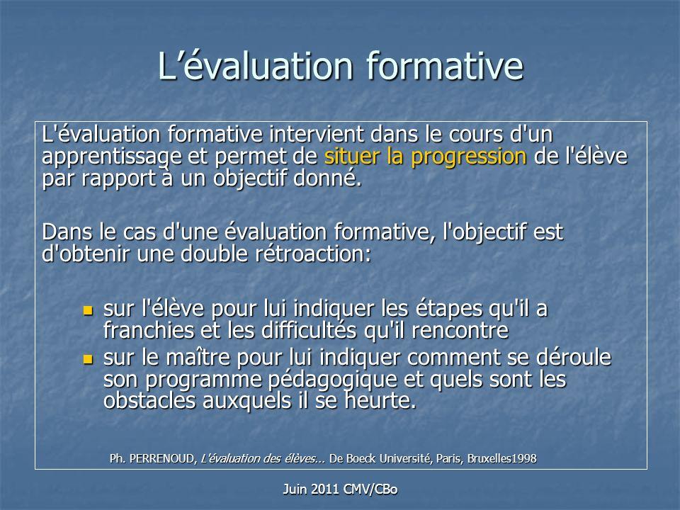 Juin 2011 CMV/CBo Lévaluation formative L'évaluation formative intervient dans le cours d'un apprentissage et permet de situer la progression de l'élè