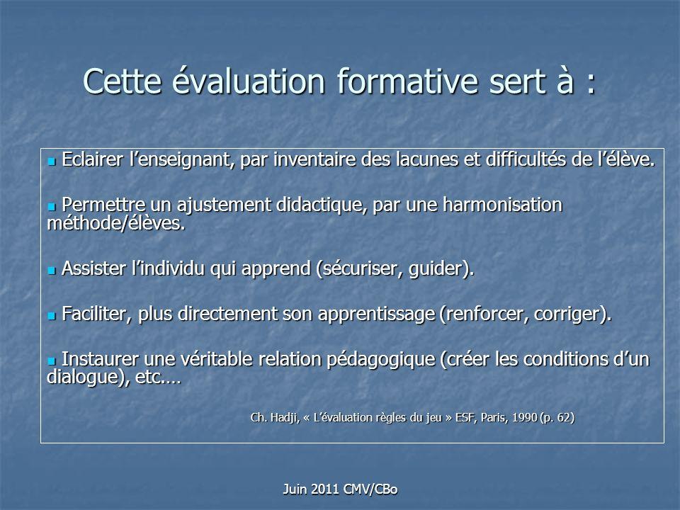 Juin 2011 CMV/CBo Cette évaluation formative sert à : Eclairer lenseignant, par inventaire des lacunes et difficultés de lélève. Eclairer lenseignant,