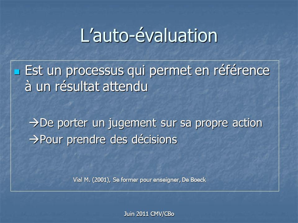 Juin 2011 CMV/CBo Lauto-évaluation Est un processus qui permet en référence à un résultat attendu Est un processus qui permet en référence à un résult