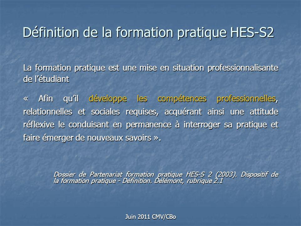 Juin 2011 CMV/CBo Définition de la formation pratique HES-S2 La formation pratique est une mise en situation professionnalisante de létudiant « Afin q